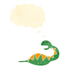 retro cartoon snake with full belly
