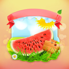 Fresh fruit label watermelon, vector illustration background