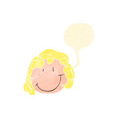 child's drawing of a happy girl with speech bubble