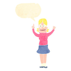 retro cartoon clever blond girl with idea
