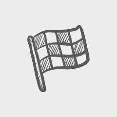 Checkered flag for racing sketch icon