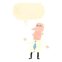 retro cartoon businessman with speech bubble