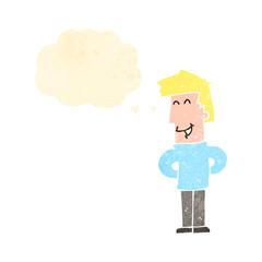 retro cartoon happy man with thought bubble