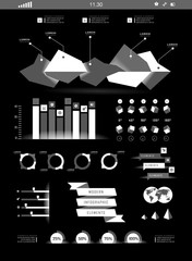 Transparent flat web site, business Infographics,
