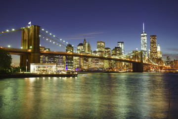Brooklyn Bridge and Lower Manhattan skyline at night, New York City, New York, United States of America, North America
