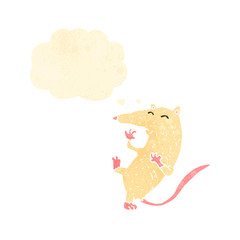 retro cartoon white mouse with thought bubble