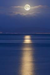 Full moon over the Mumbles, Swansea, Wales, United Kingdom, Europe