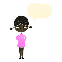 retro cartoon annoyed girl with speech bubble