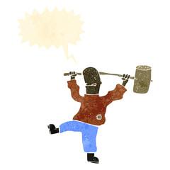 retro cartoon man with big hammer