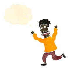 retro cartoon terrfied man