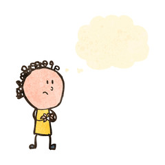 retro cartoon worried woman with thought bubble