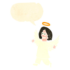 retro cartoon angel with speech bubble