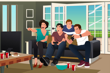 Teenagers Playing Video Game