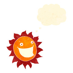 retro cartoon happy sun