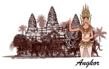 Angkor wat with elephants, palm trees and apasara