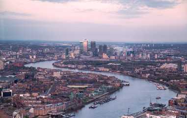 LONDON, UK - APRIL 15, 2015: City of London panorama in sunset and first night lights. Wall mural