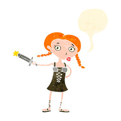 retro cartoon viking girl with speech bubble