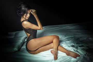 Hot attractive woman in lingerie.