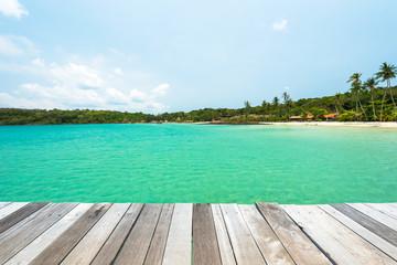 Wooden platform beside turquoise sea at Koh Kood Island ,Thailand