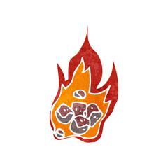 retro cartoon burning coals