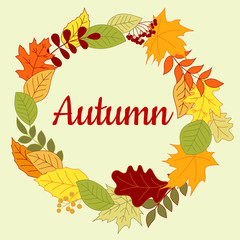 Autumnal colorful border or frame