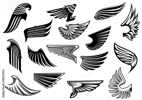 vintage isolated heraldic wings set stock image and royalty free
