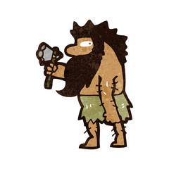 retro cartoon cave man