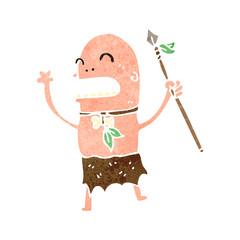 retro cartoon tribal man