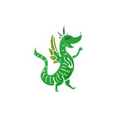 retro cartoon little dragon