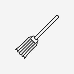 Magic broom line icon