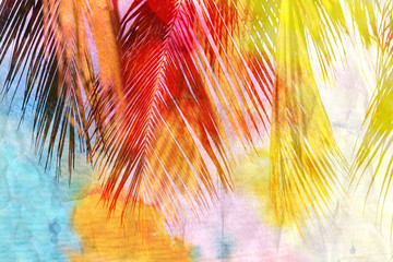 Watercolor palm leaf
