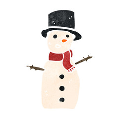 retro cartoon snowman