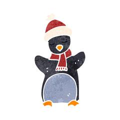 retro cartoon funny penguin