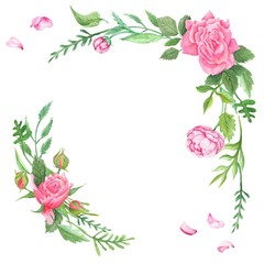 Vintage Watercolor Rose Corners