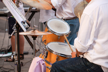 Drummer during the street concert