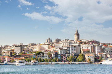 Istanbul, Galata tower, view of the city. Beautiful cityscape