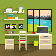 Home workplace flat vector design