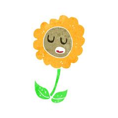 retro cartoon flower character