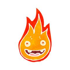 retro cartoon flame character