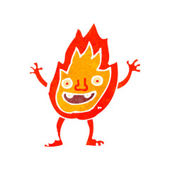 retro cartoon flame character