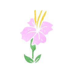 retro cartoon pink flower