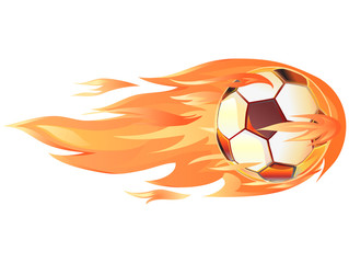 Soccerball in flames or fire vector image