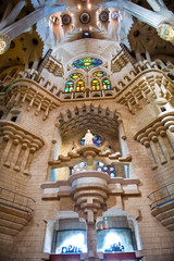 Interior of Sagrada Familia in Barcelona, Spain