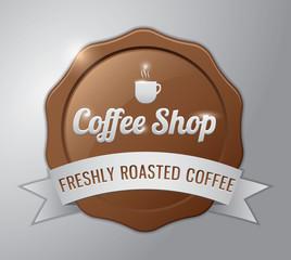 Coffee badge : coffee shop, freshly roasted coffee