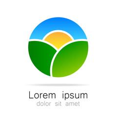 Ecological natural landscape logo template