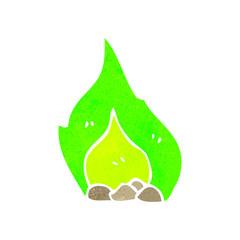 retro cartoon green fire