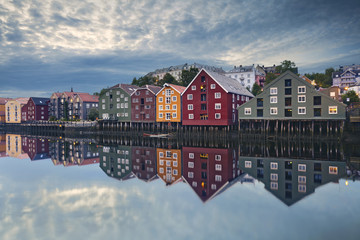 Foto op Plexiglas Scandinavië Trondheim. Image of norwegian city of Trondheim during twilight blue hour.