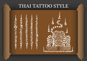 Thai Tattoo Ancient style. Vector template