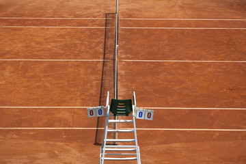 Tennis Court and Umpire Chair with a Clipping Path