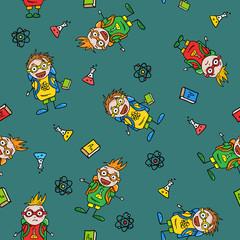 schoolboys, seamless pattern
